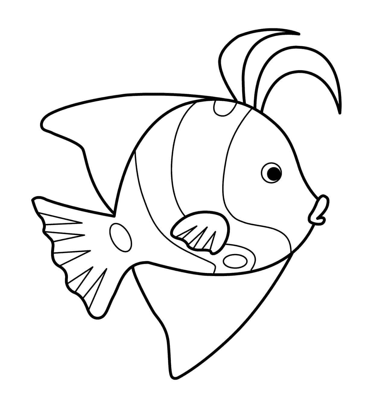 морские рыбки раскраска просто уделяют