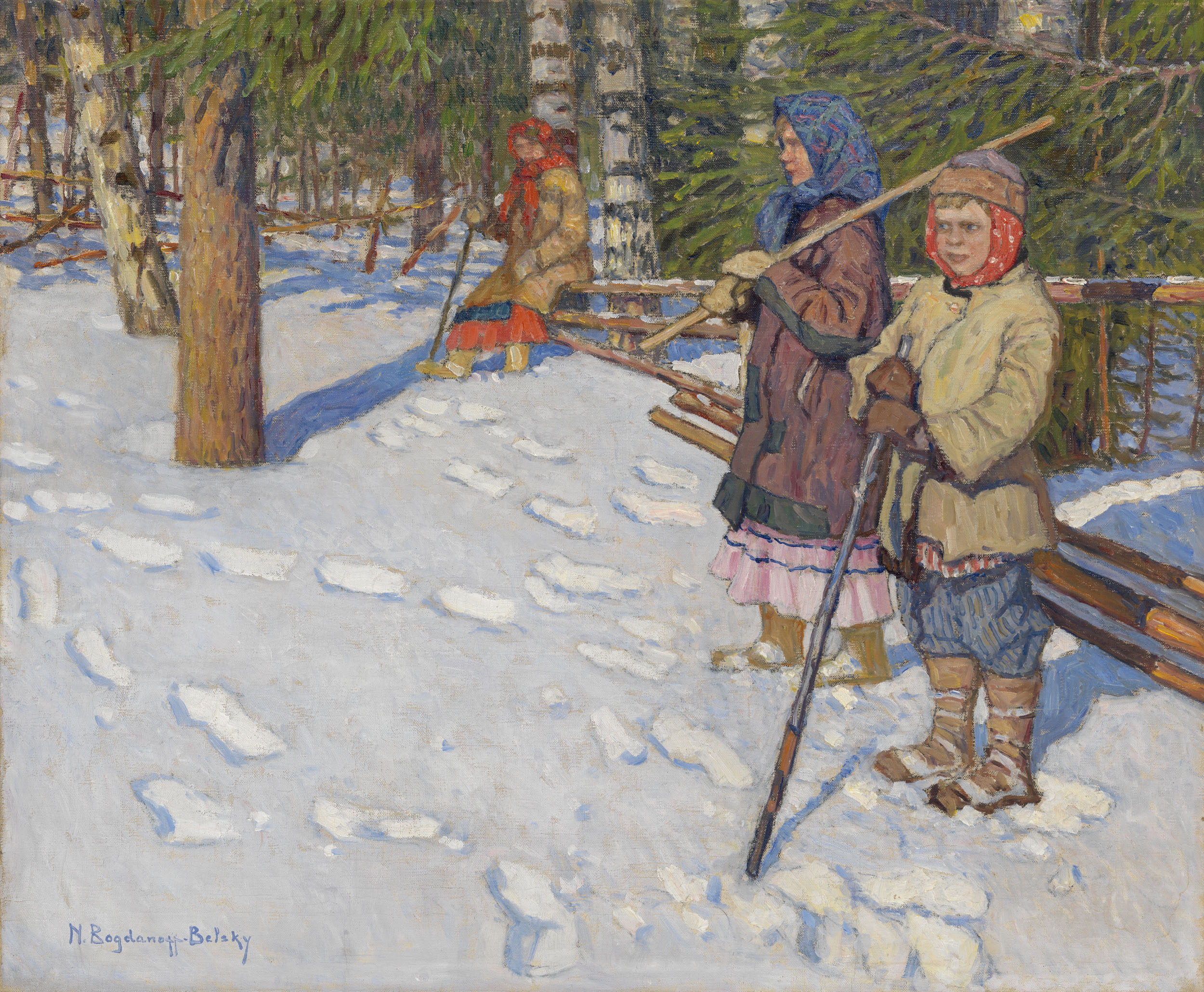 BOGDANOV-BELSKY, NIKOLAI Children in a Wintry Forest