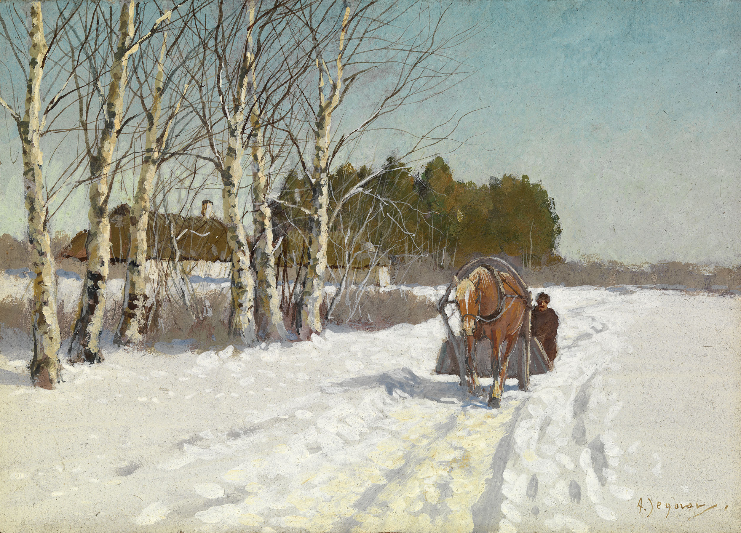 EGOROV, ANDREI Horse and Sleigh in a Snow-covered Field