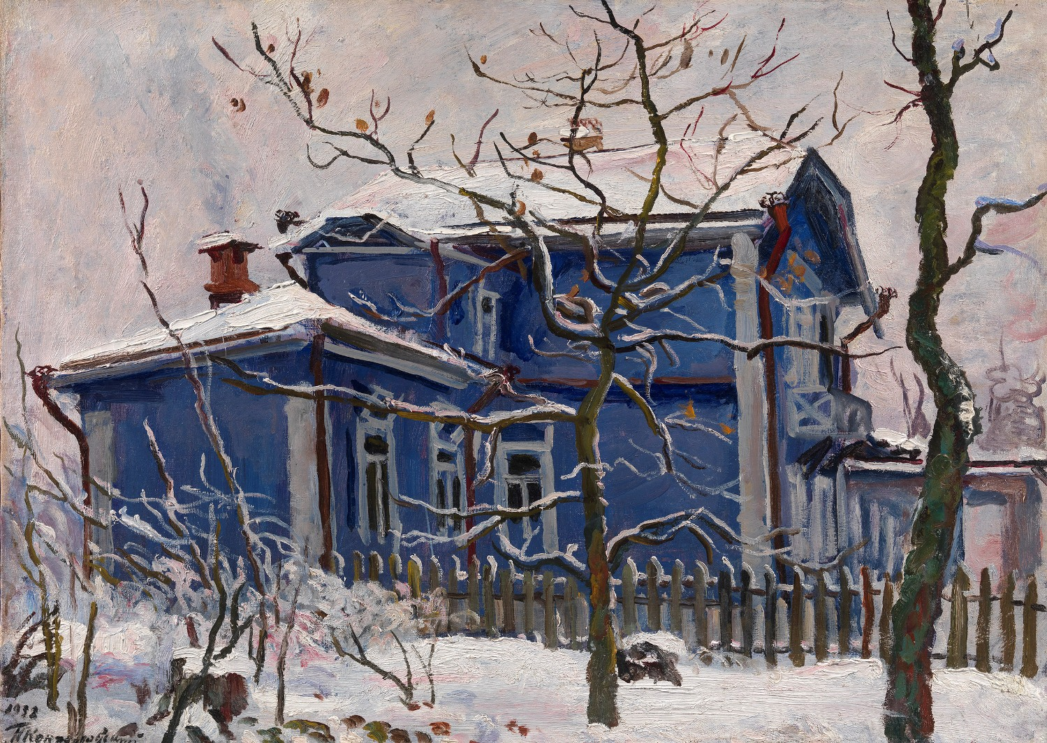 KONCHALOVSKY, PETR First Snow. Blue Dacha