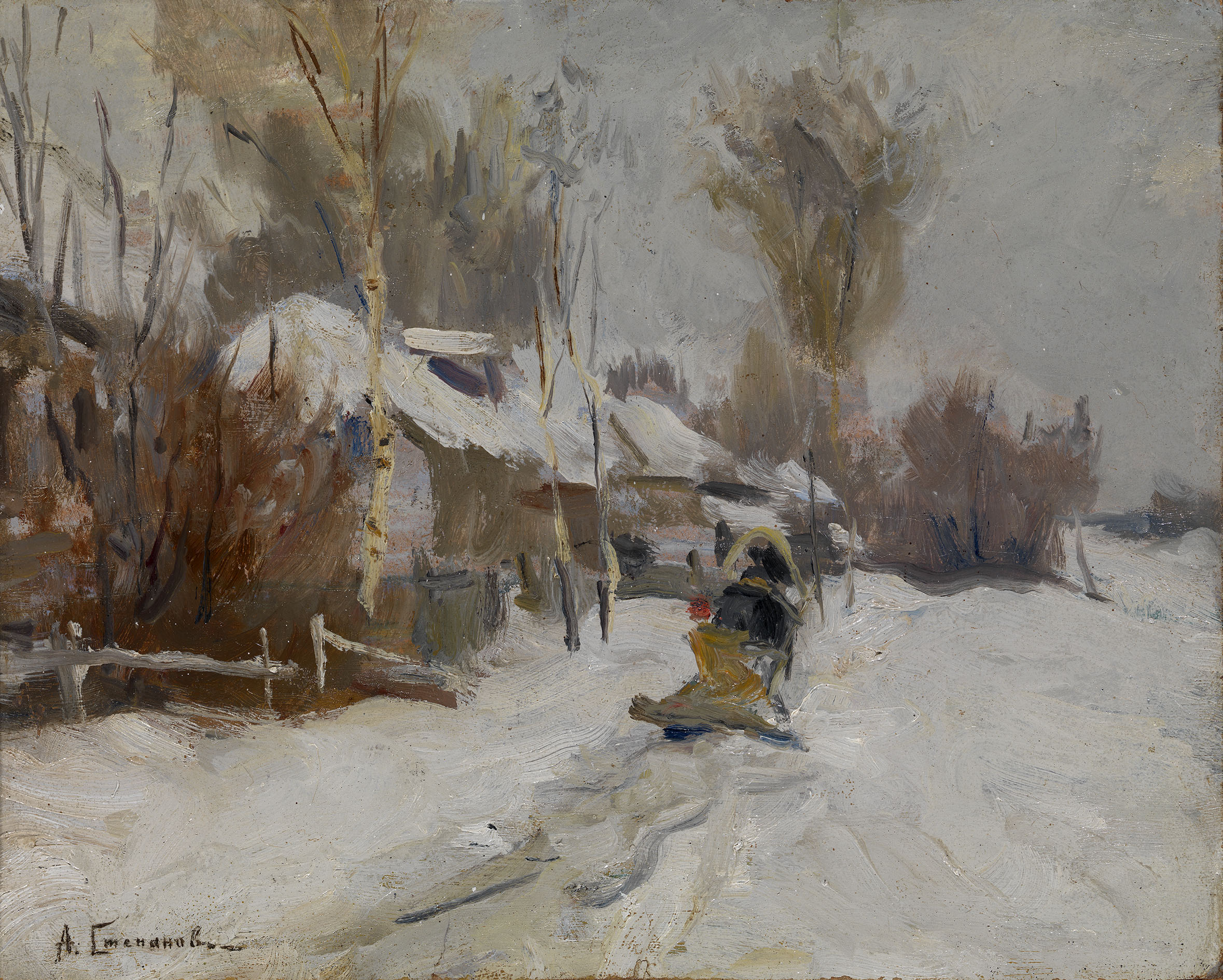 STEPANOV, ALEXEI Winter Scene with Horse Sledge