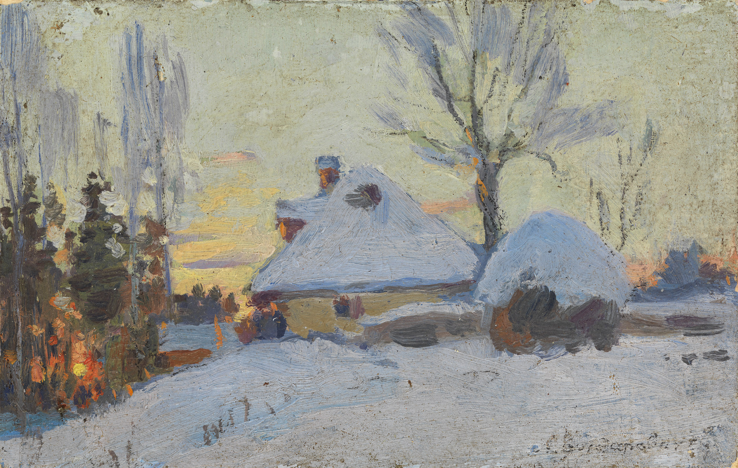 VASILKOVSKY, SERGEI Winter Village at Sunset
