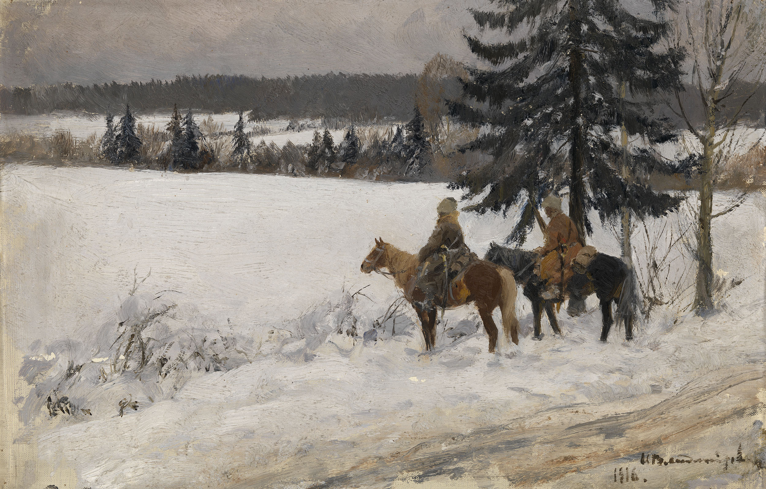 VLADIMIROV, IVAN Winter Scene with Two Cossack Horsemen
